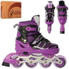 Детские раздвижные Ролики: светящиеся колеса PU диаметр 6.4см, АВЕС7, M (35-38) стелька от 21см, фиолетовый