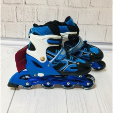 Ролики  на липучке и шнурках, ТМ Profi, колёса с подшипниками (полиуретан), размер 39-42, сине-белые арт. 12098 арт. 12098 43414-06 lvt-12098blue-white
