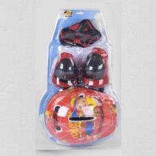 Комплект Детская Защита и шлем для спортивных занятий: наколенники, налокотники и защита запястий, красный