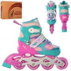Детские раздвижные Ролики: светящиеся колеса PU диаметр 6.4см, АВЕС7, S (31-34) стелька от 18см розово-голубой