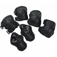 Набор детской защиты на липучках для спортивных занятий: наколенники, налокотники и защита запястий, черный