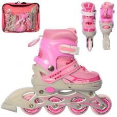 Детские раздвижные Ролики: светящиеся колеса PVC, диаметр 7см, АВЕС7, S (31-34) стелька от 18см, розовый