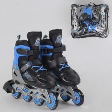 Детские Ролики для мальчиков: алюминиевая рама, колеса PVC, светящееся колесо, АВЕС7, M (34-37) от 21.5см