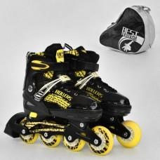 Ролики с пяточным тормозом, Best Roller, колёса с подшипниками (полиуретан), размер L 39-42, желтые арт. 5800 43825-06 lvt-5800Lyellow