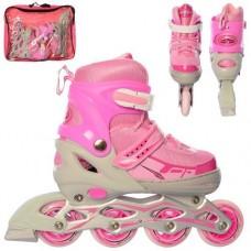 Детские раздвижные Ролики: светящиеся колеса PVC, диаметр 7см, АВЕС7, M (35-38) стелька от 21см, серый-розовый