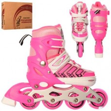 Детские раздвижные Ролики: алюминиевая рама, колеса PU, пластиковые ботинки, АВЕС7, S (31-34), розовый