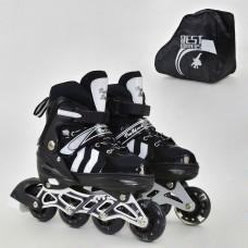 *Детские ролики с передним светящимся колесом, ТМ Best Roller, колеса PU, размер 35-38, черно-белые арт. 9031 43906-06 lvt-9031Мblack-white