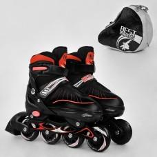 Ролики с пяточным тормозом, Best Roller, колёса с подшипниками (полиуретан), размер L 39-42, черные арт. 5700 43396-06 lvt-5700Lred