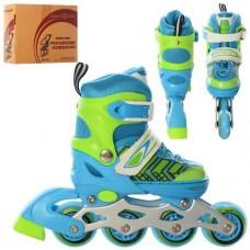 Детские раздвижные Ролики: алюминиевая рама, колеса PU, пластиковый ботинок, АВЕС7, XS (27-30), зелено-голубой