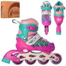 Детские раздвижные Ролики: алюминиевая рама, колеса PU, пластиковые ботинки, АВЕС7, S (31-34) розово-бирюзовый
