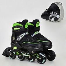 Ролики с пяточным тормозом, Best Roller, колёса с подшипниками (полиуретан), размер L 39-42, зелёные арт. 5700 43797-06 lvt-5700Lgreen