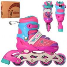 Детские раздвижные Ролики: светящиеся колеса PU D=6.4см, АВЕС7, S (31-34) стелька от 18см, розовый с голубым