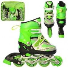 Детские раздвижные Ролики: алюминиевая рама, колеса PU, пластиковый ботинок, АВЕС7, S (28-33), зеленый