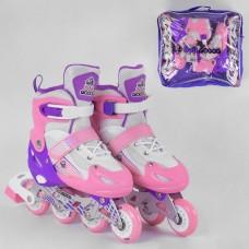 Детские Ролики для девочек: алюминиевая рама, колеса PVC, светящееся колесо, АВЕС7, размер S (30-33) - розовые