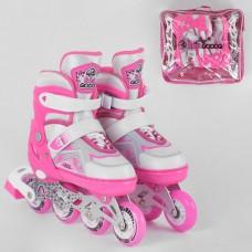 Детские Ролики для девочек: алюминиевая рама, колеса PU, светящееся колесо, подшипники АВЕС7, размер L (38-42)