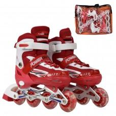 Ролики детские красные со светящимся передним колесом, ТМ Best Roller, колёса PU, размер M 35-38 арт. 24832 44169-06 lvt-24832Mred