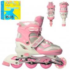 Детские раздвижные Ролики: колеса PVC, светящиеся колеса, подшипники АВЕС7, L (39-42) стелька от 25см, розовый
