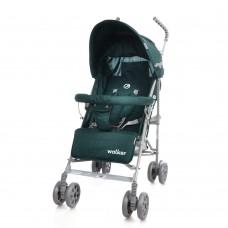 *Детская прогулочная коляска-трость в льне с корзиной и 3х точечным ременем, ТМ Baby Care, цвет Green арт. 0001