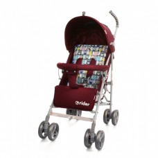 *Детская прогулочная коляска-трость в льне с корзиной и 3х точечным ременем, ТМ Baby Care, цвет Red арт. 0002