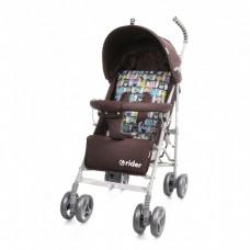 *Детская прогулочная коляска-трость в льне с корзиной и 3х точечным ременем, ТМ Baby Care, цвет Brown арт. 0002