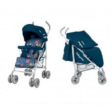 *Детская прогулочная коляска-трость в льне с корзиной и 3х точечным ременем, ТМ Baby Care, цвет Blue арт. 0002