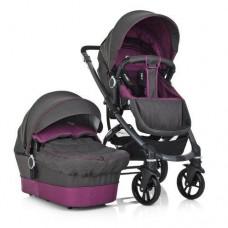 *Детская универсальная коляска 2в1 (+чехол, дождевик, подстаканник, сетка, матрас), серо-фиолетовая арт. 1021-9