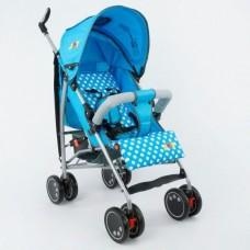Детская прогулочная коляска-трость с корзиной для игрушек и накидкой для ножек, TM JOY, голубого цвета арт. Q 2005