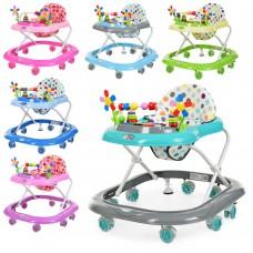 Детские Ходунки на 8 колесах с регулировкой высоты и мягким сиденьем, съемная игровая панель, Bambi 67х57х54см