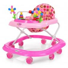 Детские Ходунки со съемной музыкальной панелью и мягким сиденьем, регулировка по высоте, колеса, розовый - Bambi