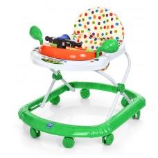 Детские музыкальные ходунки с игровой съемной панелью и подвижным рулем, зеленого цвета арт. 2750
