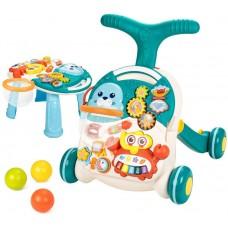 Детский Игровой центр для малышей 2в1: Каталка Ходунки с удобной ручкой, игровой развивающей панелью, голубой