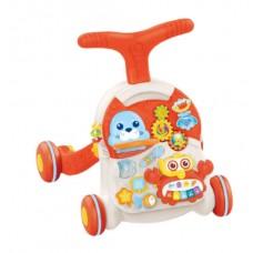 Детский Игровой центр для малышей 3в1: Каталка Ходунки Столик с удобной ручкой, игровой панелью, красный