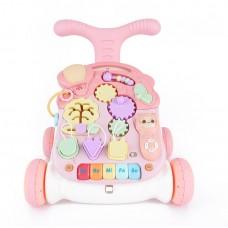 Детский Игровой центр для малышей 3в1: Каталка Ходунки Столик с удобной ручкой, игровой панелью, розовый