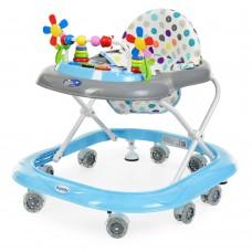 Детские Ходунки со съемной музыкальной панелью и мягким сиденьем, регулировка по высоте, колеса, голубой - Bambi