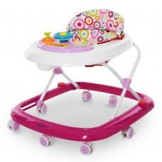 Детские складные Ходунки El Camino Pink Happy: регулировка по высоте, игровая панель, розовый 54х64х60см*