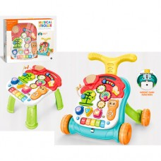 Детский игровой центр 3 в 1  (каталка - ходунки - столик) с панелью и с звуковыми и световыми элементами арт. 5218
