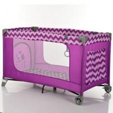 Детский прямоугольный манеж с аксессуарами от El Camino, Safe Purple Zigzag, размер 21,5-20,5-77 см арт. 1016