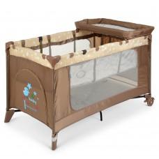 Манеж 3в1: кровать, пеленальный столик - складной, дверца на молнии, матрасик 123х77х64см - El Camino Stars Beige