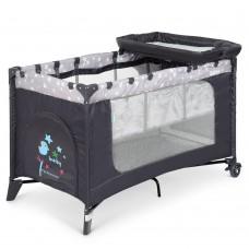 Манеж 3в1: кровать, пеленальный столик - складной, дверца на молнии, матрасик 123х77х64см - El Camino Stars Gray