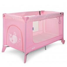 Манеж складной: ручки, дверца на молнии, накладки на углах, матрасик 123х77х64см - El Camino Safe Heart pink*