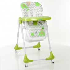 Детский стульчик для кормления от ТМ Bambi, узор-слоники, цвет - зеленый, 7 положений по высоте арт. 3233