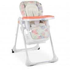 Детский Стульчик для кормления: регулировка высоты и угла наклона, чехол из экокожи, колеса - Bambi Fusion Coral