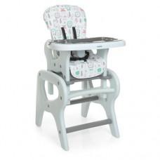 Детский Стульчик для кормления Трансформер - 3 положения спинки, столик+стульчик 61х73х107см Bambi Flowers Gray