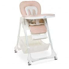 Детский Стульчик для кормления: регулировка по высоте и углу наклона, чехол экокожа, колеса, корзина - Bambi Beige
