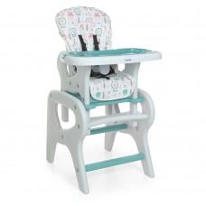 Детский Стульчик для кормления Трансформер - 3 положения спинки, столик+стульчик 61х73х107см Bambi Flowers Mint