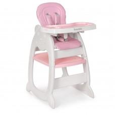 Детский Стульчик-трансформер для кормления - 3 положения спинки, качалка, чехол из экокожи розовый 46х56х63см