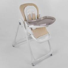 Детский складной Стульчик для кормления Toti на колесиках со съемной столешницей и съемным вкладышем, бежевый