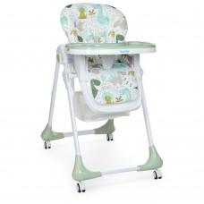 Детский Стульчик для кормления: регулировка высоты, угла наклона, съемный столик, колеса - Bambi Dino Pine Green