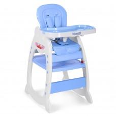 Детский Стульчик-трансформер для кормления - 3 положения спинки, качалка, чехол из экокожи голубой 46х56х63см