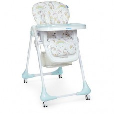 Детский Стульчик для кормления: регулировка высоты и угла наклона, съемный столик, колеса - Bambi Unicorn Mint